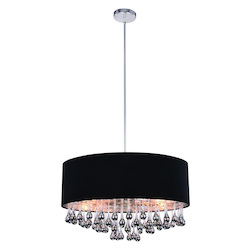 Metro Collection Pendant Lamp D:24In. H:14.5In. Lt:6 Chrome Finish Royal Cut