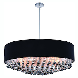 Metro Collection Pendant Lamp D:35In. H:14.6In. Lt:9 Chrome Finish Royal Cut