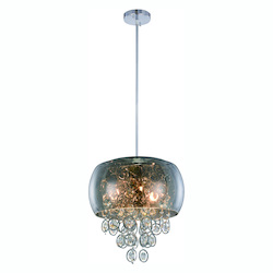 Jordan Collection Pendant Lamp D:16In. H:15In. Lt:6 Chrome Finish Royal Cut