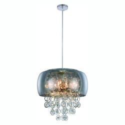 Jordan Collection Pendant Lamp D:19In. H:17In. Lt:10 Chrome Finish Royal Cut