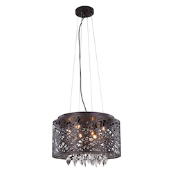 Finley Collection Pendant/Flush Mount D:16In. H:10In. Lt:7 Matte Dark Brown