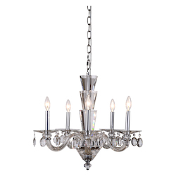 Augusta Collection Pendant Lamp D:23In. H:28In. Lt:5 Chrome Finish