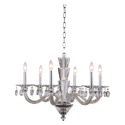 Augusta Collection Pendant Lamp D:29.5In. H:28In. Lt:6 Chrome Finish