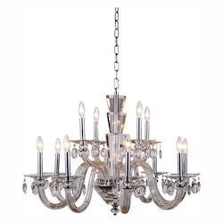 Augusta Collection Pendant Lamp D:32In. H:23In. Lt:12 Chrome Finish