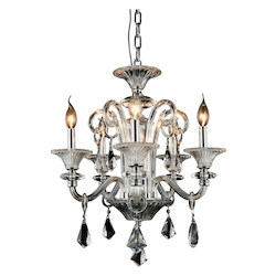 Aurora Collection Pendant Lamp D:20In. H:24In. Lt:5 Chrome Finish