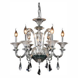 Aurora Collection Pendant Lamp D:24In. H:24In. Lt:6 Chrome Finish