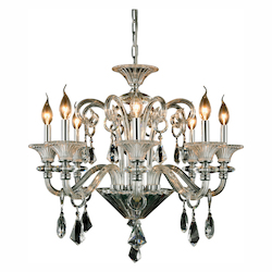 Aurora Collection Pendant Lamp D:26In. H:24In. Lt:8 Chrome Finish