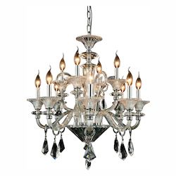 Aurora Collection Pendant Lamp D:26In. H:28In. Lt:12 Chrome Finish