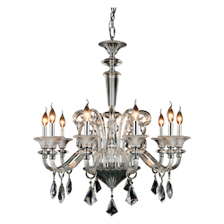 Aurora Collection Pendant Lamp D:32In. H:34In. Lt:10 Chrome Finish