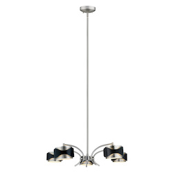 5X40W Chandelier W/ Chrome & Black Finish