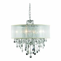 2016 St. Francis Collection Hanging Fixture Silver Shade H21In D24In Lt:6 Chrome