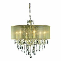 2016 St. Francis Collection Hanging Fixture Gold Shade H21In D24In Lt:6 Gold Fin