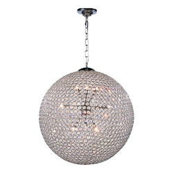 2102 Cabaret Collection Pendant Lamp D:24In H:24In Lt:12 Chrome Finish Royal Cut