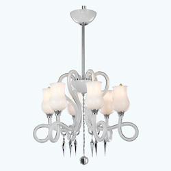 6946 Scroll Collection Hanging Fixture D24.5In H20.8In Lt:6 White Finish (Swarov