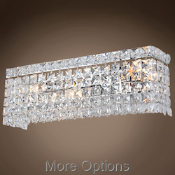 3 Light Chrome Wall Sconce With Crystals