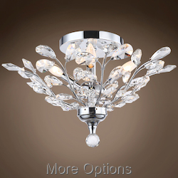 Branch of Light 4 Light Chrome Flush Mount with Crystals