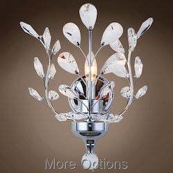 Branch of Light 1 Light Chrome Wall Sconce with Crystals