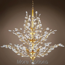 Branch of Light 18 Light Gold Chandelier with Crystals