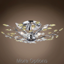 Branch Of Light 6 Light Chrome Semi Flush Mount With Crystals