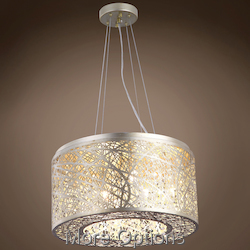 Lazer 7 Light Golden Silver Steel Shade Pendant