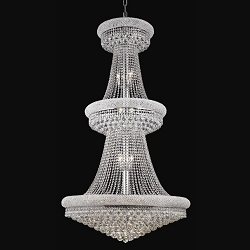 Bagel Design 32-Light 66'' Gold or Chrome Chandelier Dressed with European or Swarovski Crystals SKU# 10120