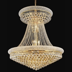 Bagel Design 28-Light 45'' Gold or Chrome Chandelier Dressed with European or Swarovski Crystal  SKU# 10121