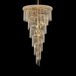 Spiral Design 22-Light 54'' Chrome or Gold Chandelier with European or Swarovski Spectra Crystal Strands  SKU# 11375