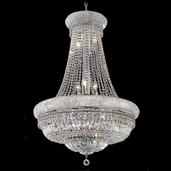 Bagel Design 14-Light 38'' Chrome or Gold Chandelier with European or Swarovski Crystals SKU# 10171