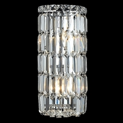 "Ibiza Design 2-Light 16"" Chrome Wall Sconce Bathroom Vanity Light Fixture with European or Swarovski Crystal SKU# 10306"