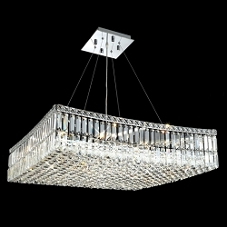 Ibiza Design 12 Light Square 32'' Adjustable Pendant Chandelier Dressed with European or Swarovski Crystals SKU# 10321