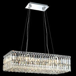 Ibiza Design 16 Light Rectangular 28'' Adjustable Pendant Chandelier Dressed with European or Swarovski Crystals SKU# 10342