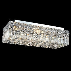 Ibiza Design 4 Light Rectangular 20'' Flush Mount Ceiling Light Dressed with European or Swarovski Crystals SKU# 10346