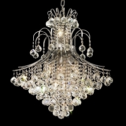 "Contour Design 15-Light 28"" Gold or Chrome Chandelier with European or Swarovski Crystal  SKU# 10530"
