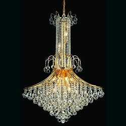 "Contour Design 16-Light 48"" Gold or Chrome Entryway Chandelier with European or Swarovski Spectra Crystal Strands  SKU# 11109"