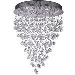 12 Light Round Pendant Chandelier Light in Chrome Finish with Clear Crystal - Joshua Marshal 700067-001