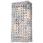 4 Light Crystal Wall Sconce Light in Chrome Finish with Clear Crystals - Joshua Marshal 700092-001