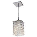 1 Light Square Shape Crystal Mini Pendant Light in Chrome Finish with Crystal - Joshua Marshal 700102-001