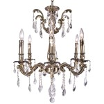 Classique 6 Light Crystal Chandelier Light Fixture in Sierra Bronze  Finish with Clear Swarovski Crystal Jewels and European French Cut Crystals - Joshua Marshal 700116-003