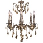 Classique 6 Light Crystal Chandelier Light Fixture in Sierra Bronze Finish with Golden Teak French Cut Crystals - Joshua Marshal 700116-004