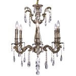 Classique 6 Light Crystal Chandelier Light Fixture in Sierra Bronze Finish with  Clear Swarovski Crystal Jewels and European Tear Drop Crystals - Joshua Marshal 700116-006