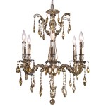 Classique 6 Light Crystal Chandelier Light Fixture in Sierra Bronze Finish with Golden Teak Tear Drop Crystals - Joshua Marshal 700116-008