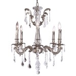 Classique 6 Light Crystal Chandelier Light Fixture in Pewter Finish with Clear Swarovski Spectra French Cut Crystals - Joshua Marshal 700116-011