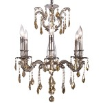 Classique 6 Light Crystal Chandelier Light Fixture in Pewter Finish with Golden Teak French Cut Crystals - Joshua Marshal 700116-012