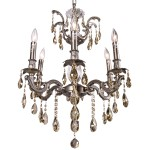 Classique 6 Light Crystal Chandelier Light Fixture in Pewter Finish with Golden Teak Tear Drop Crystals - Joshua Marshal 700116-016