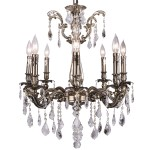 Classique 8 Light Crystal Chandelier Light Fixture in Sierra Bronze Finish with Clear Swarovski Spectra French Cut Crystals - Joshua Marshal 700117-003