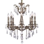 Classique 8 Light Crystal Chandelier Light Fixture in Sierra Bronze Finish with Clear European Tear Drop Crystals - Joshua Marshal 700117-006
