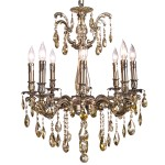 Classique 8 Light Crystal Chandelier Light Fixture in Sierra Bronze Finish with Golden Teak Tear Drop Crystals - Joshua Marshal 700117-008