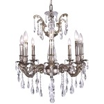 Classique 8 Light Crystal Chandelier Light Fixture in Pewter  Finish with Clear Swarovski Crystal Jewels and European Tear Drop Crystals - Joshua Marshal 700117-014
