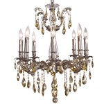 Classique 8 Light Crystal Chandelier Light Fixture in Pewter Finish with Golden Teak Tear Drop Crystals - Joshua Marshal 700117-016