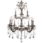 Classique 12 Light Crystal Chandelier Light Fixture in Sierra Bronze  Finish with Clear Swarovski Crystal Jewels and European French Cut Crystals - Joshua Marshal 700119-002